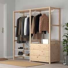 IKEA - IVAR, Shelving unit with clothes rail, Untreated solid wood is a durable natural material which is even more hardwearing and easy to look after if you oil or wax the surface. You can move shelves and adapt spacing to suit your needs. Wooden Wardrobe, Wardrobe Furniture, Diy Furniture, Clothes Shelves, Clothes Rail, Clothes Storage Ideas Without A Closet, Ikea Clothes Rack, Hanging Clothes Racks, Simple Wardrobe