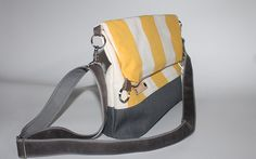 Fold over yellow striped canvas bag  cross body bag waterproof everyday bag