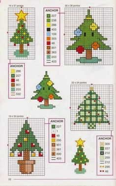 Christmas trees perler bead pattern, but can equally be used for cross-stitch. Xmas Cross Stitch, Cross Stitch Needles, Cross Stitch Cards, Cross Stitching, Cross Stitch Embroidery, Cross Stitch Designs, Cross Stitch Patterns, Theme Noel, Christmas Embroidery