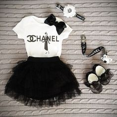 Chanel headband and binky black and white and chanel t shirt or onesie chanel baby clothes designer baby swag