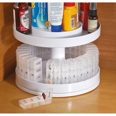 Lazy Susans have often been used in kitchen cupboards or other cabinets to keep things in the back from being hard to see or reach. But they can also be used quite well on workbenches, desktops and more. The galvanized lazy Susan organizer from Park Designs is a multi-purpose organizer