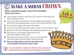 Step-by-step King Midas crown for our Greek myth in Storytime Issue 8! More stories, crafts and free downloads at STORYTIMEMAGAZINE.COM