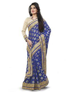 Navy #Blue Georgette #Fancy Pallu #Designer #Sari #nikvik  #usa #designer #australia #canada #freeshipping #saris
