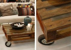 rolling pallet coffee table.  great for the deck or patio