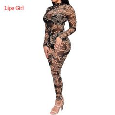 c40b9b8bfe18 Jumpsuit Women Long Pants 2016 New Summer Style Mesh See Through Print Elegant  Overalls Sexy Club Bodycon Plus Size Jumpsuits