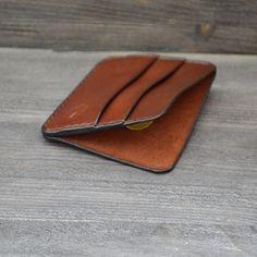 Genuine Leather Wallet Brown Minimalist Credit Card Organizer