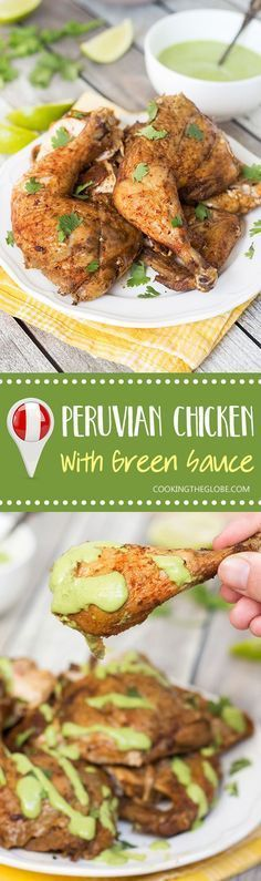 This Peruvian Chicken with a traditional Peruvian green sauce is destined to become one of your favorite chicken recipes ever! Peruvian Dishes, Peruvian Cuisine, Peruvian Recipes, Peruvian Restaurant, Turkey Recipes, Mexican Food Recipes, Chicken Recipes, Dinner Recipes, Ethnic Recipes