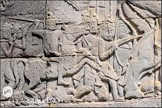 Bas relief at the Bayon Temple showing Khmer warriors, Angkor Thom, Cambodia 1 Century, Religion, Khmer Empire, Siem Reap, Angkor Wat, Burmese, Indiana Jones, Stone Carving, Java