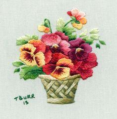 crewel embroidery, decoupage flower, decoupage papers free printable, embroidery, flower, flower various, needle painting, trish burr,