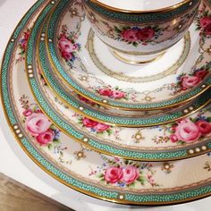 Lovely Teacup, Saucer, Plate and Cake Plate. On White Base with Turquoise and Gold rim and Pink Roses decoration