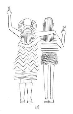 Illustration Kids girls at festivals christopher delorenzo Line Drawing, Drawing Sketches, Painting & Drawing, Doodle Drawings, Easy Drawings, October Crafts, Doodles, Line Art, Art Lessons