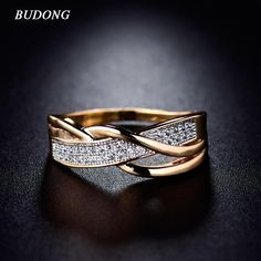 Cheap mid rings, Buy Quality fashion rings for women directly from China rings for women Suppliers: BUDONG Rings for Women Valentine Present Fashion Spiral CZ Crystal Gold-Color Mid Ring Cubic Zirconia Promise Jewelry Sterling Silver Jewelry, Gold Jewelry, Jewelry Rings, Men's Jewellery, Designer Jewellery, Diamond Jewellery, Jewellery Designs, Jewelry Watches, Women Jewelry