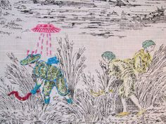 Richard Saja takes classically traditional toile fabric and embroiders modern day icons such as UFOs atop it. Felt Patterns, Hand Embroidery Patterns, Embroidery Art, Embroidery Designs, Surface Art, Pet Costumes, Elements Of Art, Fabric Art, Art Forms