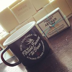 Swift coffee break from wrapping a freshly cured batch of our top selling Lemon Soul Artisan Soap bars! We love our new home @strongislandclothingco. Swing by the checkout our Studio Shop #shoplocal #portsmouth