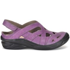 Bionica Maclean Women's Purple Slip On (1,940 EGP) ❤ liked on Polyvore featuring shoes, purple, platform slip on shoes, mid-heel shoes, slip-on shoes, lightweight shoes and purple platform shoes