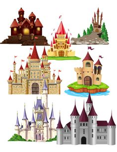 Castle Images 30 Pack Cliparts Large by DigitalArtMovement on Etsy Castle Drawing Easy, Rapunzel Castle, Scenery Background, Disney Princess Pictures, Unicorn Art, Image 30, Topper, School Design, Easy Drawings