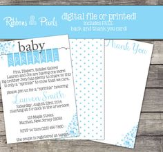 Starting at $13.50 you can receive custom printed Baby Sprinkle Invitations for a Boy!  Enter coupon code PIN10 when checking out to receive 10% off of your purchase!