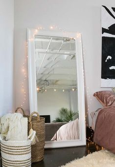 Future Home Interior bedroom mirror floor.Future Home Interior bedroom mirror floor White Floor Mirror, Floor Mirror With Lights, Lights Around Mirror, Full Length Mirror With Lights Around It, Long White Mirror, Oversized Mirror, Aesthetic Rooms, Dream Rooms, Modern Bedroom