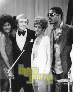Nancy Wilson, Aretha Franklin, and Stevie Wonder with Merv Griffin Merv Griffin, Nancy Wilson, Tennessee, Ted, Black Celebrities, Aretha Franklin, Stevie Wonder, Soul Music, African American History