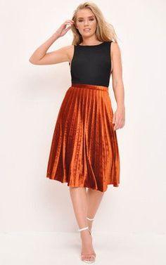 679e4536a9 Velvet Pleated Midi Skirt Dark Orange High Waisted Skirt