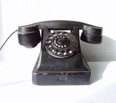 Vintage Rotary Telephone Black Bakelite Soviet by MerilinsRetro, $79.00