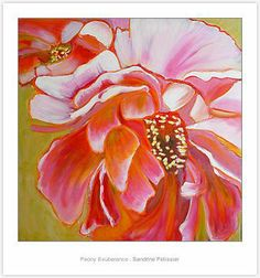 Flower painting tutorial with acrylic and pastel on ARTiful, painting demos by Sandrine Pelissier