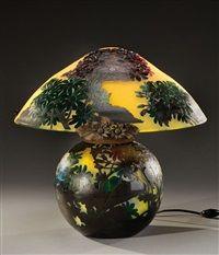 Importante lampe de table champignon by Muller Frères Co.
