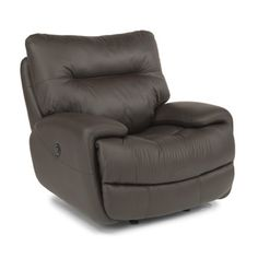 Flexsteel 1447-54P Evian Leather Power Glider Recliner available at Hickory Park Furniture Galleries