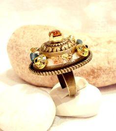 Bague ovale Ethnique en bronze  Bijoux Haute par DivaDivineStyle