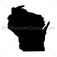 Wisconsin silhouette clip art. Download free versions of the image in EPS, JPG, PDF, PNG, and SVG formats at http://silhouettegarden.com/download/wisconsin-silhouette/