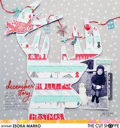 December Story - DT layout for The Cut Shoppe Project Life Scrapbook, Scrapbook Journal, Scrapbook Sketches, Scrapbook Page Layouts, Baby Scrapbook, Scrapbook Cards, Scrapbooking 101, Scrapbook Paper Crafts, Christmas Scrapbook Layouts