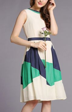 A-line O-neck Sleeveless Vintage Color Block Dress
