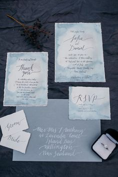 Blue watercolor and calligraphy wedding invitation suite | Meredith Lord