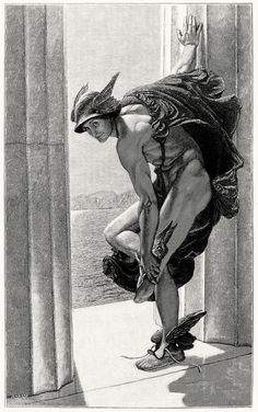 Hermes, after a painting by W. B. Richmond. From The magazine of art vol. 9, London, Paris, New York, Melbourne, 1886.