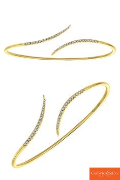 Gorgeous 14k Yellow Gold Diamond Bangle by Gabriel and Co. Definitely, fit for any night or day outfit. You can also stack this with other bracelets from Gabriel and Co.