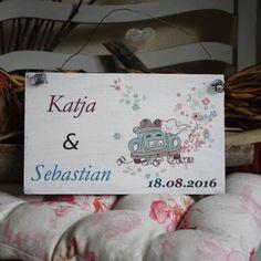 Shabby Chic Holzschild - Hochzeits-ShabbySchild Auto