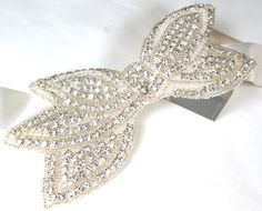 Crystal and pearl bow applique  bridal belt by sakuramillinery