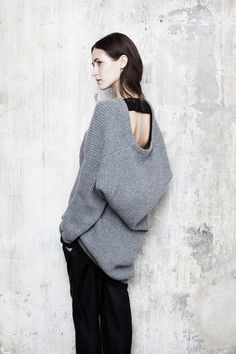 Maison Martin Margiela, oversize gray ribbed sweater