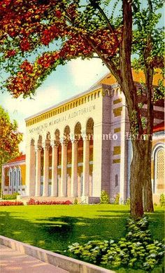 1937 postcard of the Memorial Auditorium from the Center for Sacramento History.