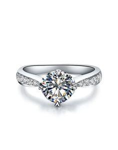 #AdoreWe #VIPme (VIPSHOP Global) SIRUIMAN❤️Designer Accessories 0.6Ct Sona Diamond Sterling Silver Brilliant Round Ring - AdoreWe.com