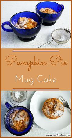 Quick and Easy Pumpkin Pie Mug Cake. This is a great way to get the kids to eat more veggies. A perfect high-fiber, guilt-free dessert! #pumpkinpiemugcake #glutenfree #grainfree