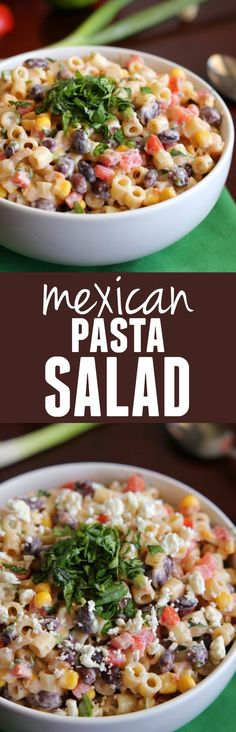 Mexican Pasta Salad will be one of the best things you take to a potluck and has AMAZING flavor!This Mexican Pasta Salad will be one of the best things you take to a potluck and has AMAZING flavor! Mexican Food Recipes, Vegetarian Recipes, Dinner Recipes, Cooking Recipes, Healthy Recipes, Vegetarian Mexican, Mexican Meals, Potluck Recipes, Mexican Side Dishes