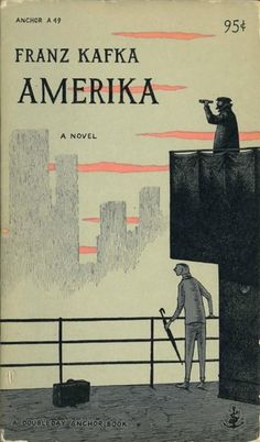 Book cover of Franz Kafka's novel, Amerika, illustrated by Edward Gorey