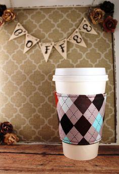 Argyle Coffee Cozy - Coffee Cozy - Fabric Coffee Cozy - Tea Cozy by SewLoveToSew on Etsy
