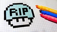Halloween Pixel Art - How To Draw Tomb Mushroom #pixelart