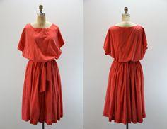 PLUS SIZE Vintage Dress Red w White Swiss Dot by SIZEisJUSTaNUMBER, $54.00
