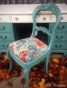 Vintage Drexel Desk and antique chair painted in chalk paint, distressed and antiqued with dark wax. By SJM Furniture