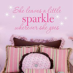 She Leaves a Little Sparkle Wherever She Goes Quote Vinyl Wall Decal Sticker