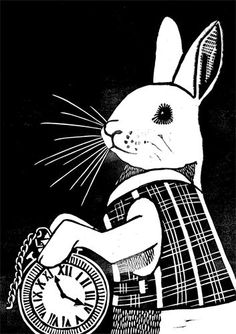 White Rabbit : 2012.  Limited edition (series of 50) linocut print.   Image size 297x210mm. Printed onto 200gsm paper.  Signed and numbered in pencil below image.  £45 mounted