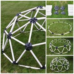 DIY Geodesic Dome Hub Connector Kit for Pipe inch) Climbing Dome, Garden Igloo, Geodesic Dome Kit, Polycarbonate Greenhouse, Dome Structure, Dome Greenhouse, Pvc Pipe Projects, Dome House, Diy For Kids